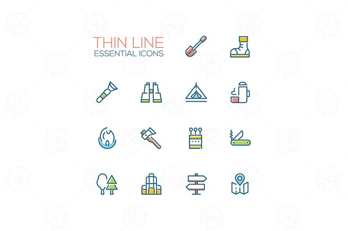Thumbnail for Camping - modern vector thin line icons set