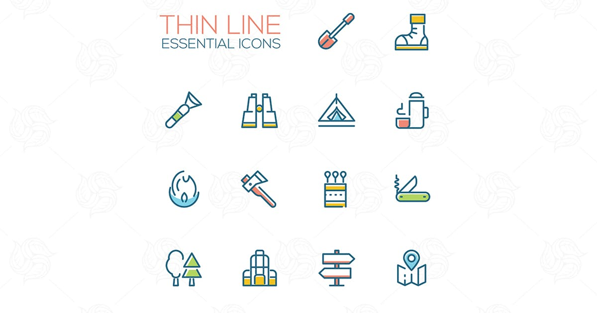 Download Camping - modern vector thin line icons set by BoykoPictures