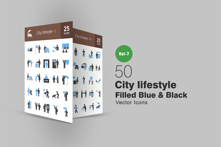 Thumbnail for 50 City Lifestyle Blue & Black Icons