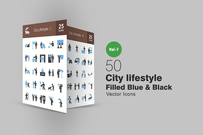 Thumbnail for 50 City Lifestyle Blue & Black Icons