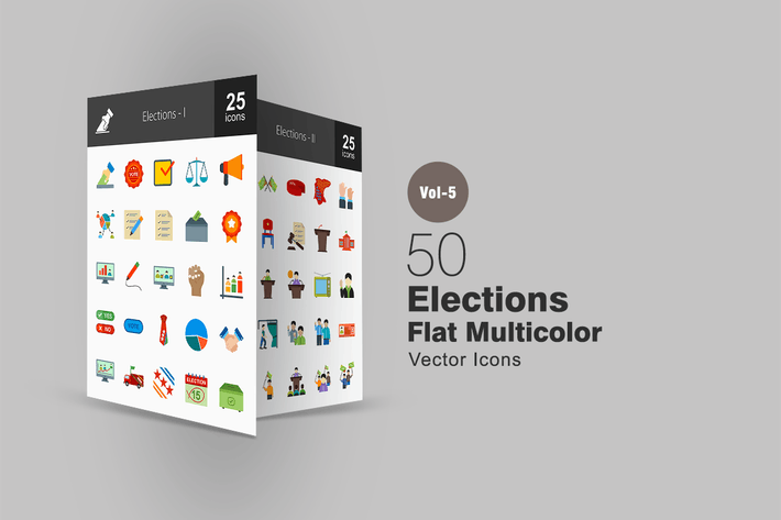 Thumbnail for 50 Elections Flat Multicolor Icons