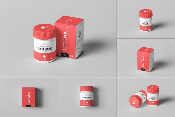 Cover Image For Supplement Jar & Box Mock-up 7