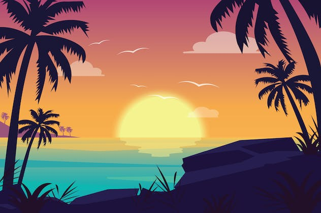 Sunset Beach - Landscape Illustration