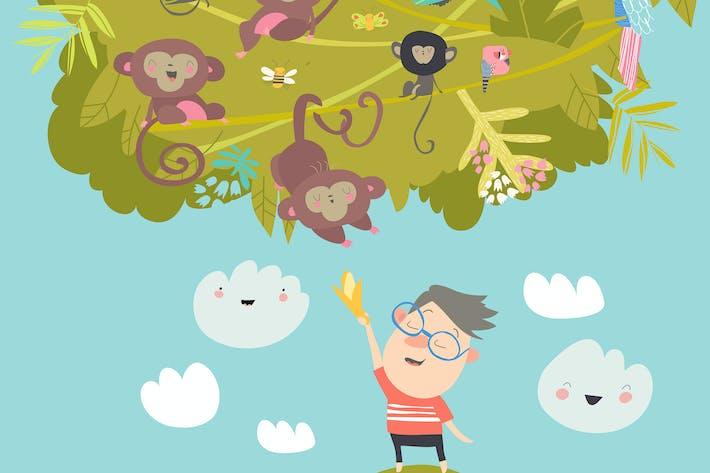 Thumbnail for Boy feeding monkeys with bananas #illustration2020