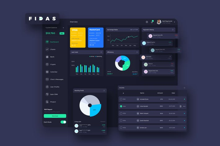 Thumbnail for FIDAS Finance Dashboard Ui Dark - P