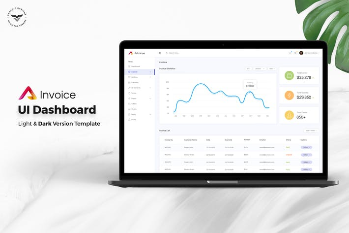 Cover Image For Invoice Admin Dashboard UI Kit