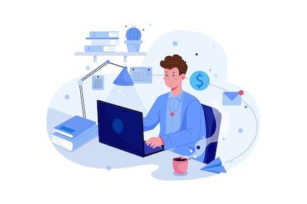 Beau homme travaillant à son ordinateur portable