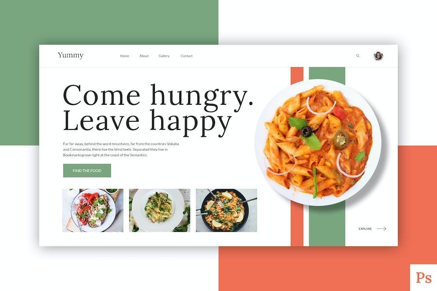 Yummy - Food Website Hero Header PSD Template