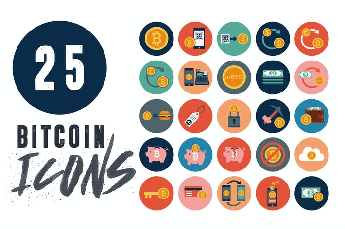 Cover Image For 25 Bitcoin Financial Icons Pack