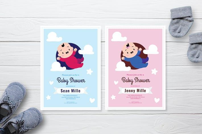 Flying Baby - Baby Shower Invitation