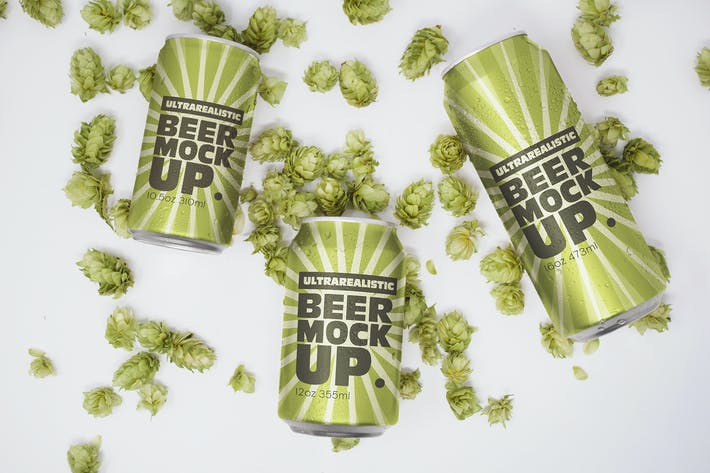 Beer Can Trio Mockup