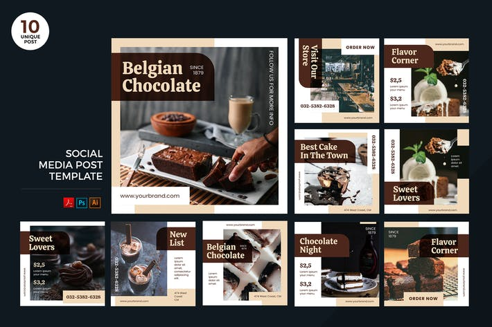 Thumbnail for Delicious Chocolate Dessert Social Media Kit