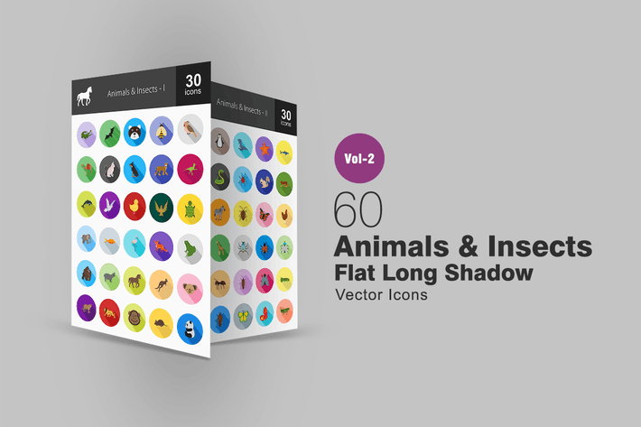 Thumbnail for 60 Animals & Insects Flat Long Shadow Icons