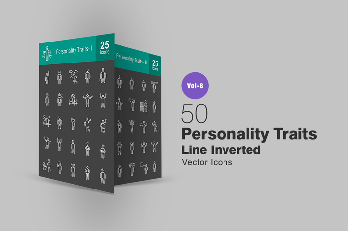 Thumbnail for 50 Personality Traits Line Inverted Icons
