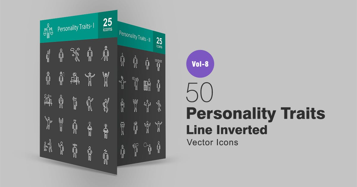 Download 50 Personality Traits Line Inverted Icons by IconBunny