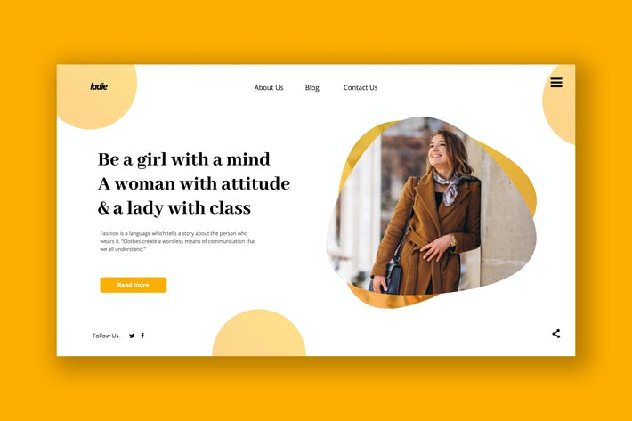 Thumbnail for Professional Female Hero Header PSD Template