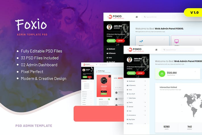 Thumbnail for Foxio - Responsive Admin Dashboard PSD Template