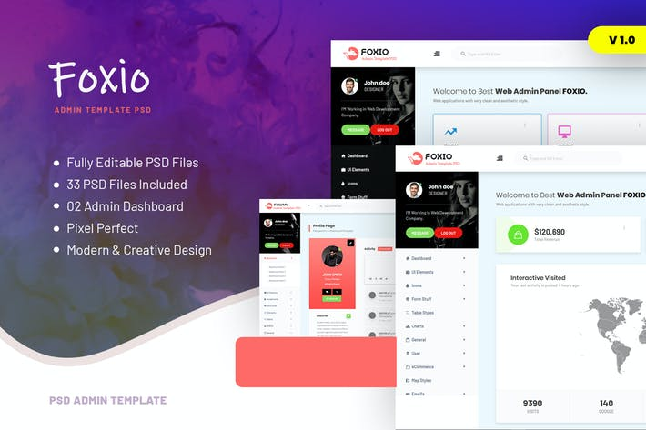 Cover Image For Foxio - Responsive Admin Dashboard PSD Template