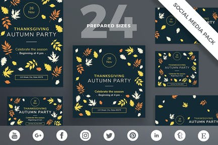 Thanksgiving Party Social Media Pack Template