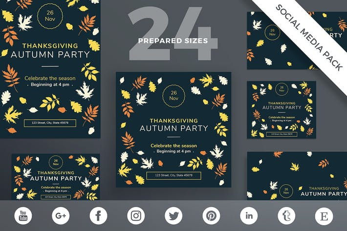 Thumbnail for Thanksgiving Party Social Media Pack Template