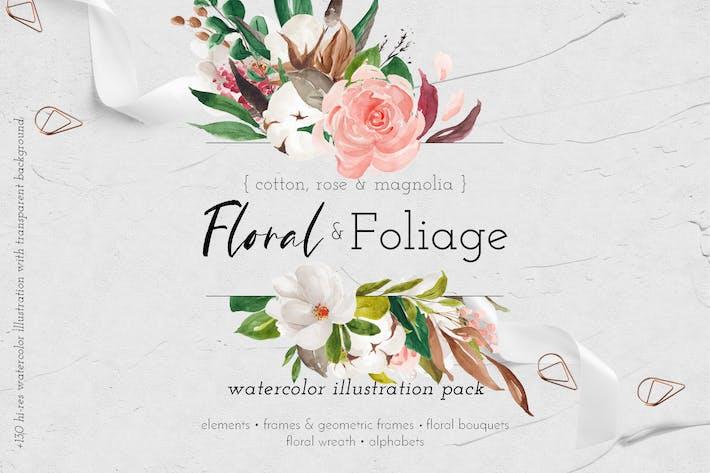Thumbnail for Paquete de ilustración floral y follaje