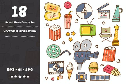 Kawaii Movie Doodle Set