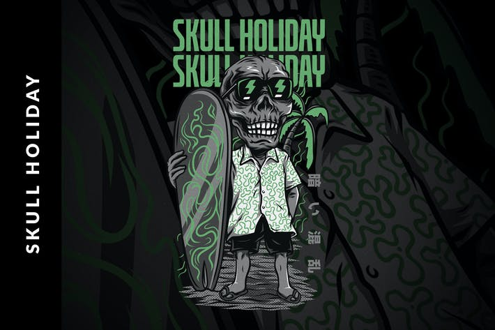 Thumbnail for Skull Holiday T-Shirt Design