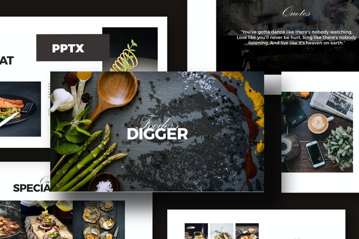 Thumbnail for Digger Recipe Menu Powerpoint Business Company