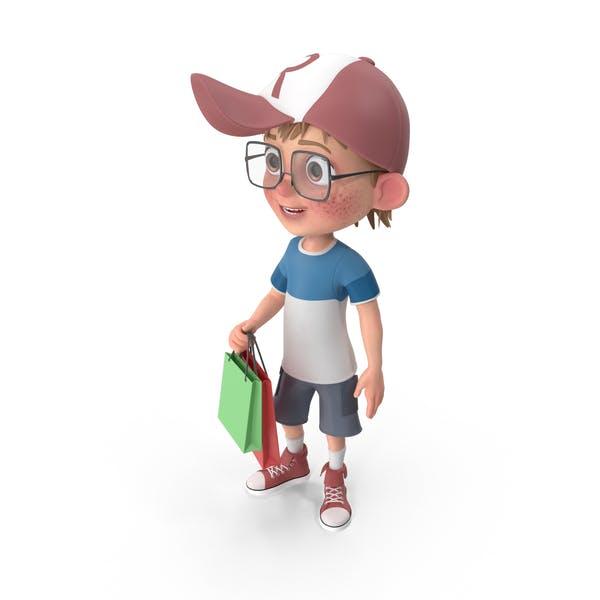 Cartoon Boy Shopping
