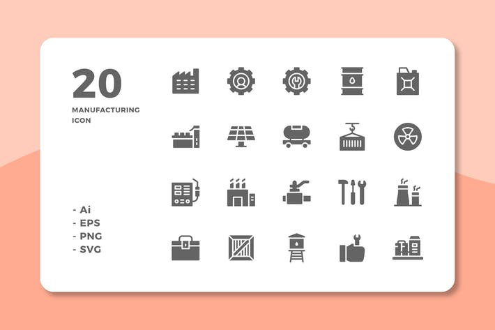 Thumbnail for 20 Manufacturing Icons (Solid)