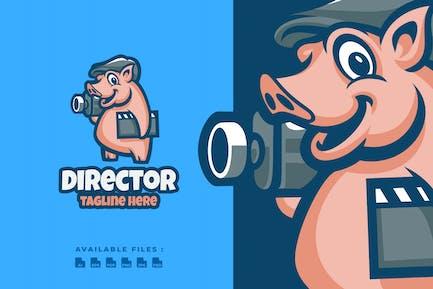 Pig Director Cartoon Logo