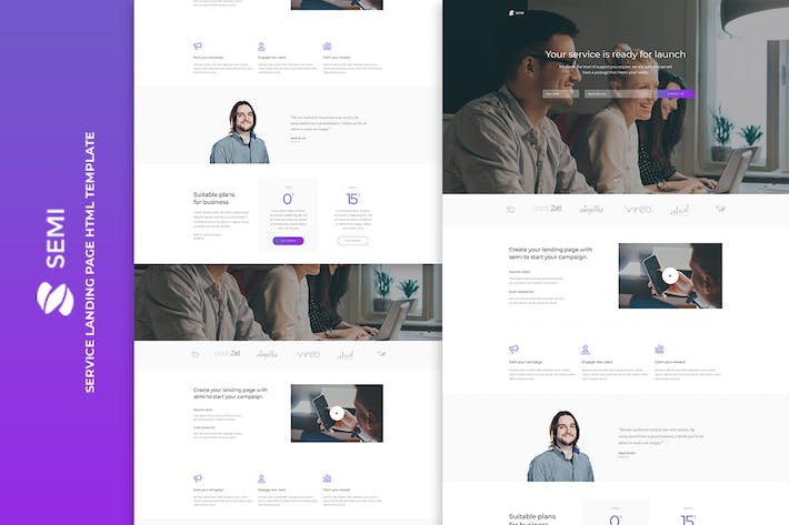 Thumbnail for Semi - Service Landing Page HTML Template