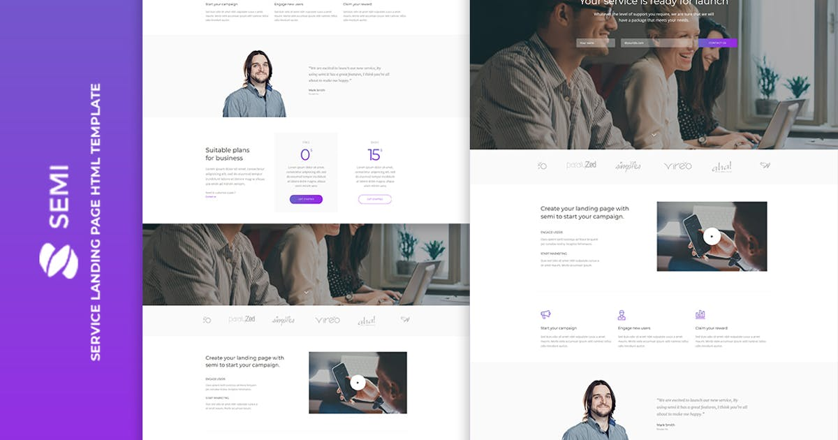 Download Semi - Service Landing Page HTML Template by htmlbeans