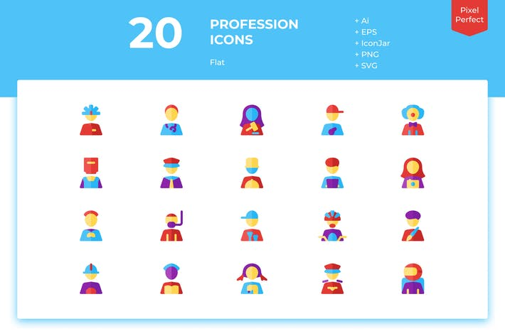 Thumbnail for 20 Profession Icons (Flat)