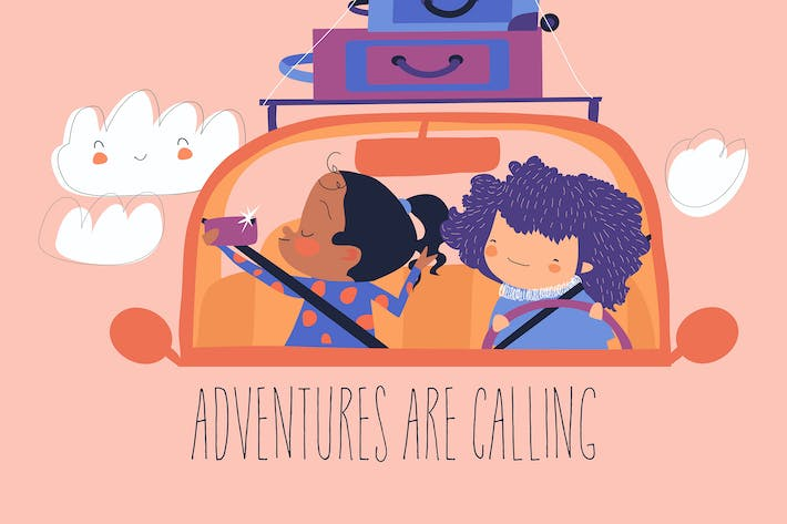 Cartoon happy girls travelling by car with luggage