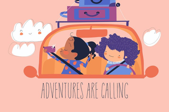 Мультфильм счастливые девушки путешествуют на машине с багажом