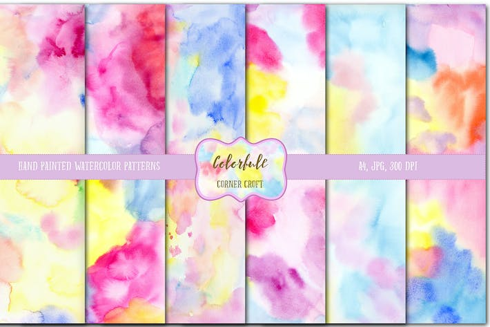 Thumbnail for Watercolor colorful texture, pattern