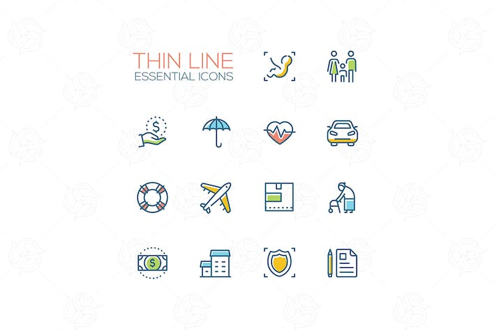 Thumbnail for Essential icons - modern vector single thick line