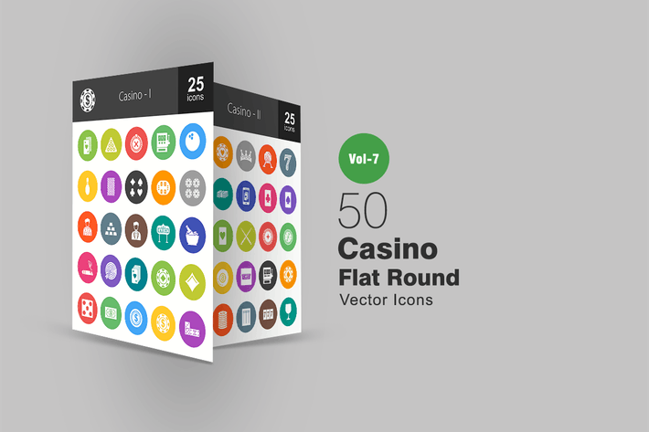 Cover Image For 50 Casino Flache Runde Icons