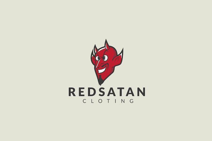 Cover Image For Red Devil Head Logo Template