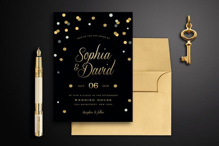 Thumbnail for Black & Gold Wedding Invitation