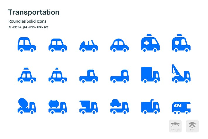 Thumbnail for Transportation Roundies Solid Glyph Icons