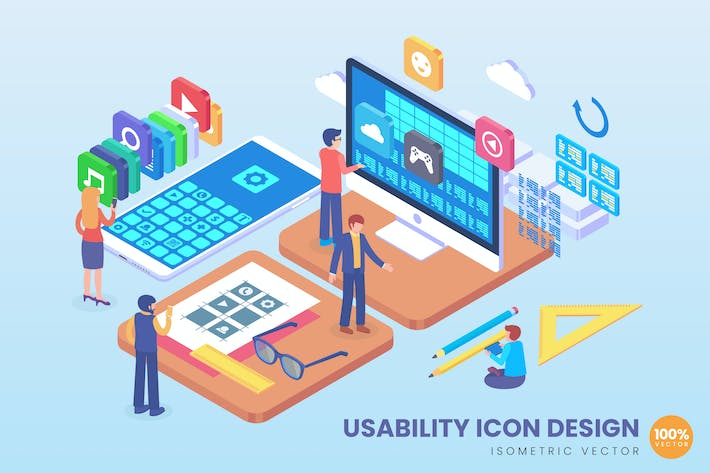 Thumbnail for Isometric Usability Icon Design Vector Concept