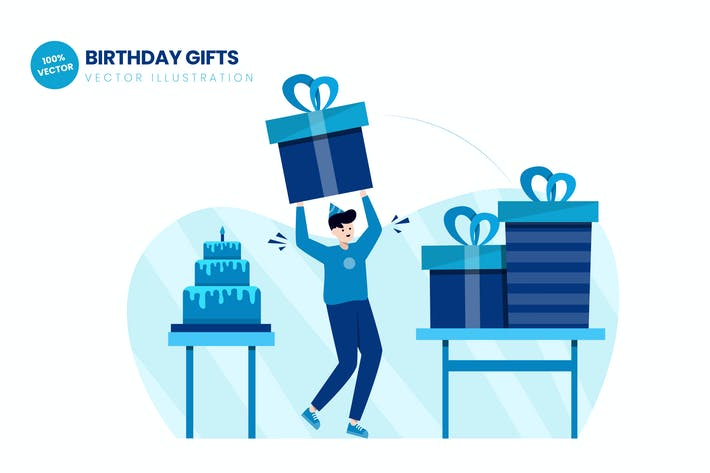 Thumbnail for Birthday Gifts Flat Vector Illustration
