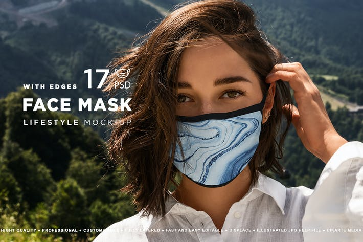 Thumbnail for Gesichtsmaske Mockup Kanten Modell