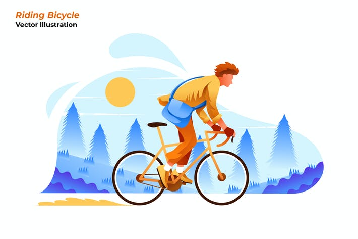 Thumbnail for Riding Bicycle - Vector Illustration
