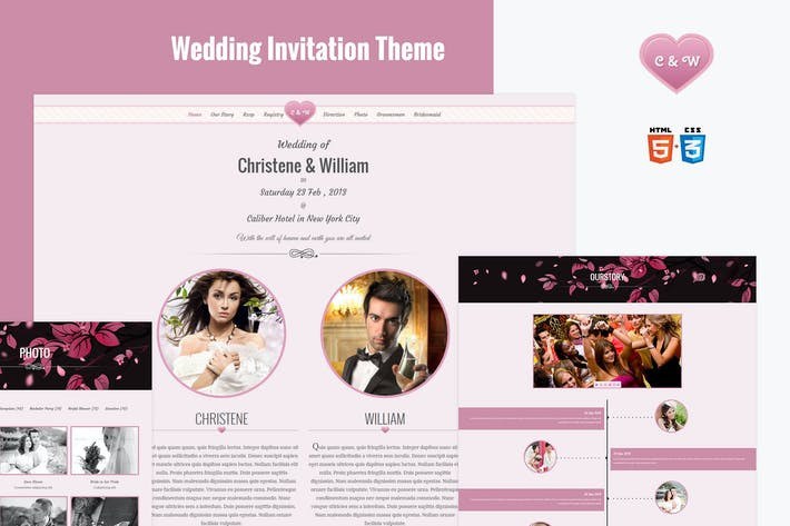Thumbnail for Wedding Event Invite HTML5