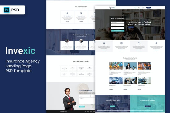 Thumbnail for Insurance Agency - Landing Page PSD Template