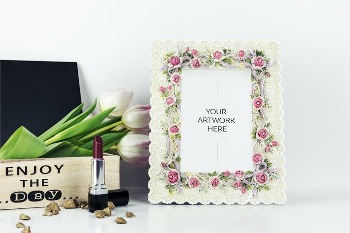 Thumbnail for Floral Frame Mockup with Wooden Box and Tulips