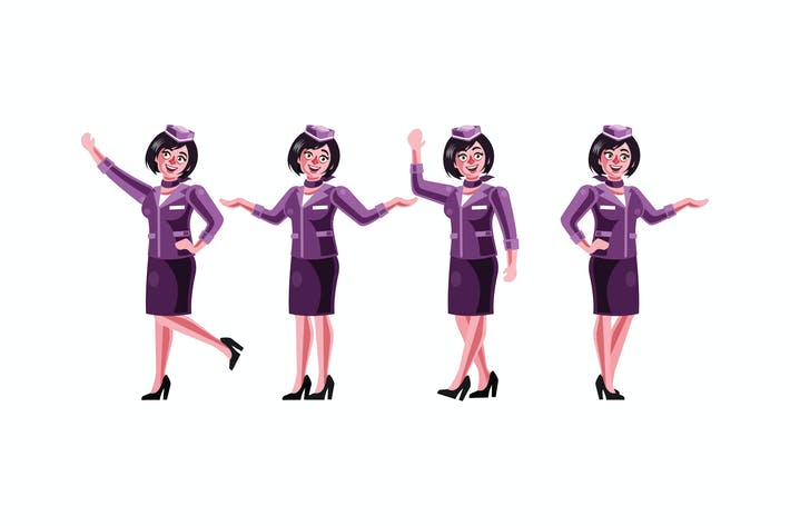 Thumbnail for Stewardess Character Graphics Vector Illustration